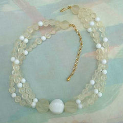 Chunky Triple Strand Necklace Frosted White Sculptured Beads Vintage Jewelry
