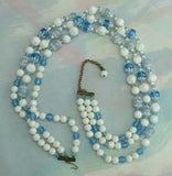 Triple Strand Vintage Blue White Bead Necklace Japan or Germany Vintage Jewelry
