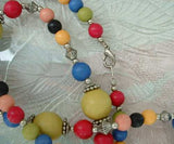 Multi-colored Bead Necklace 31 inches Vintage Jewelry