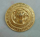 Roaring Lion Goldtone Brooch Pin Vintage Figural Jewelry