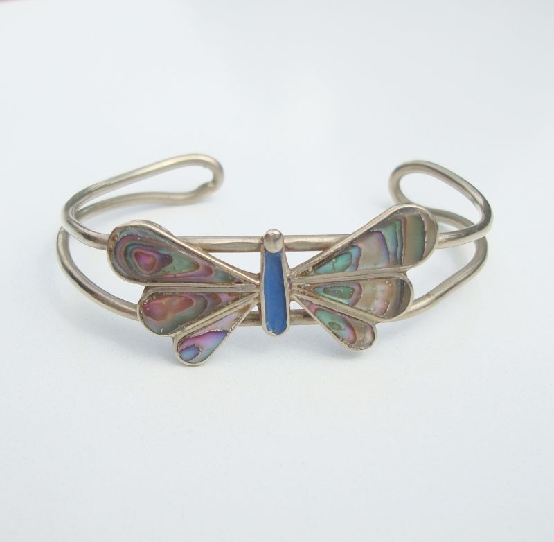 Abalone Butterfly Cuff Bracelet Marked but Illegible Vintage Jewelry