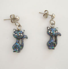 Cute Deco Style Cat Earrings Blue Green Pink Figural Animal Jewelry