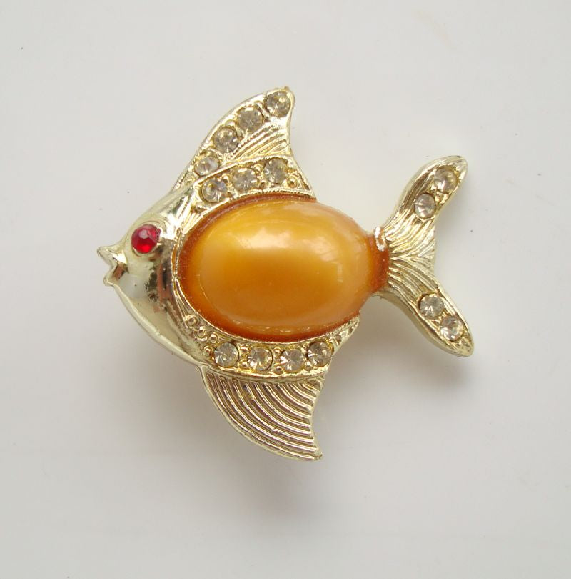 Peach Jelly Belly Fish Pin Peach Lucite Rhinestones Vintage Figural Jewelry