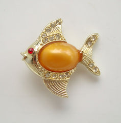 Peach Lucite Jelly Belly Fish Pin Rhinestones Vintage Figural Jewelry