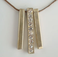 Retro Triple Drop Pendant Necklace Rhinestones Geometric Vintage Jewelry