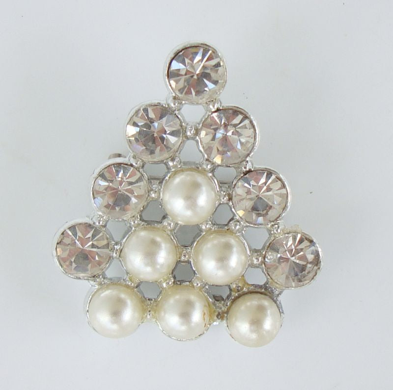 Tree-Shaped Pearl Rhinestone Brooch Sparkling Vintage Jewelry