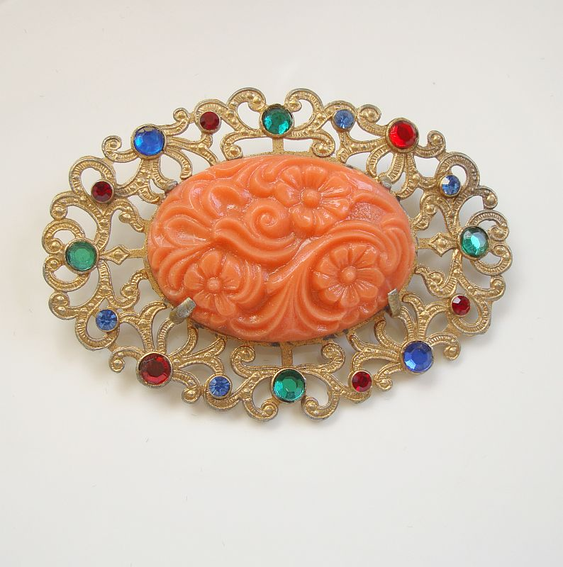 Coral-Colored Celluloid Brooch Rhinestones Vintage Floral Jewelry