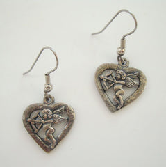 Cupid Heart Dangle Earrings Vintage Sweetheart Figural Jewelry