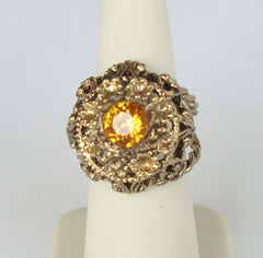 Blazing Topaz Cocktail Ring Adjustable Size Openwork Vintage Jewelry