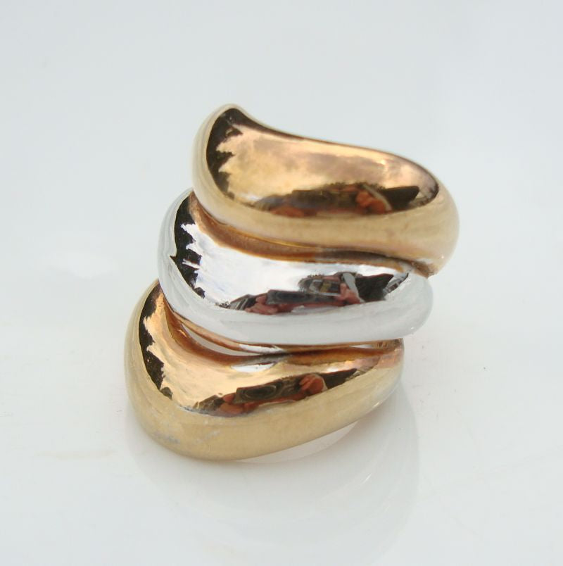 Wide Wavy Silverplate and Heavy Gold Plate Ring Sz 5 Multi Metal Jewelry