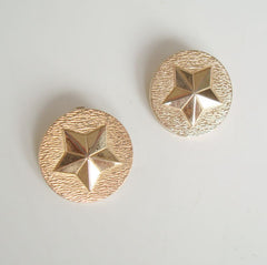 Sarah Coventry MILITARY BRASS 1969 Clip On Earrings Textured Star Jewelry