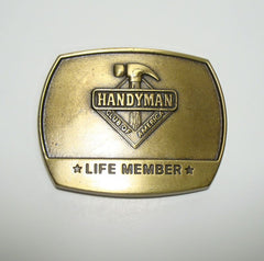 Handyman Belt Buckle Life Member 1996 Antiqued Brass Accessory