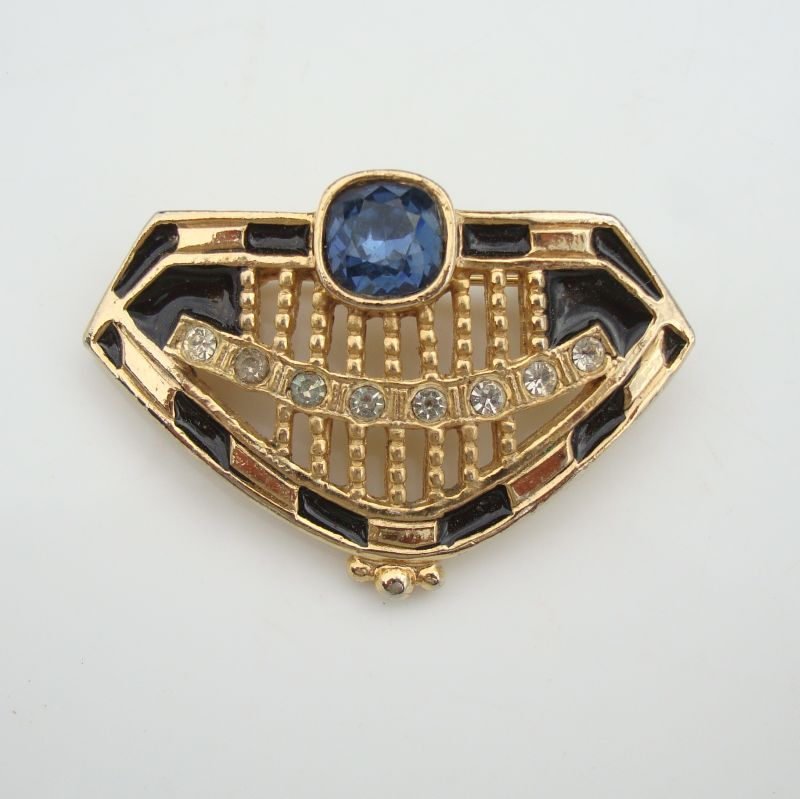 Shield Crown Brooch Blue Brilliant-Cut Rhinestone Fraternity Vintage Jewelry