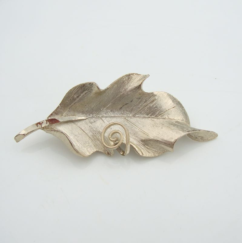 BSK Silvertone Leaf Brooch Pin with Spiral Vintage Floral Jewelry