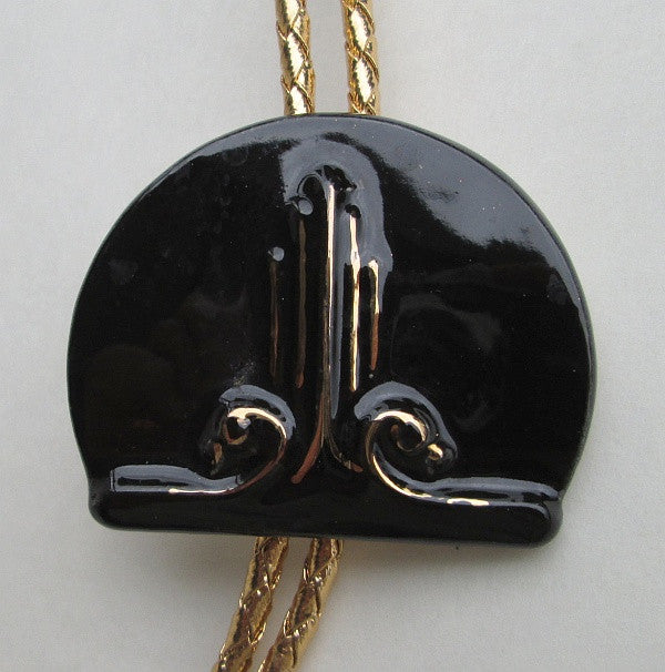 Interesting Black Ceramic Bolo Necklace w Gold Glaze Accents