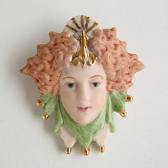 ML Signed Jester Face Brooch Porcelain Pin 1995 Figural Vintage Jewelry