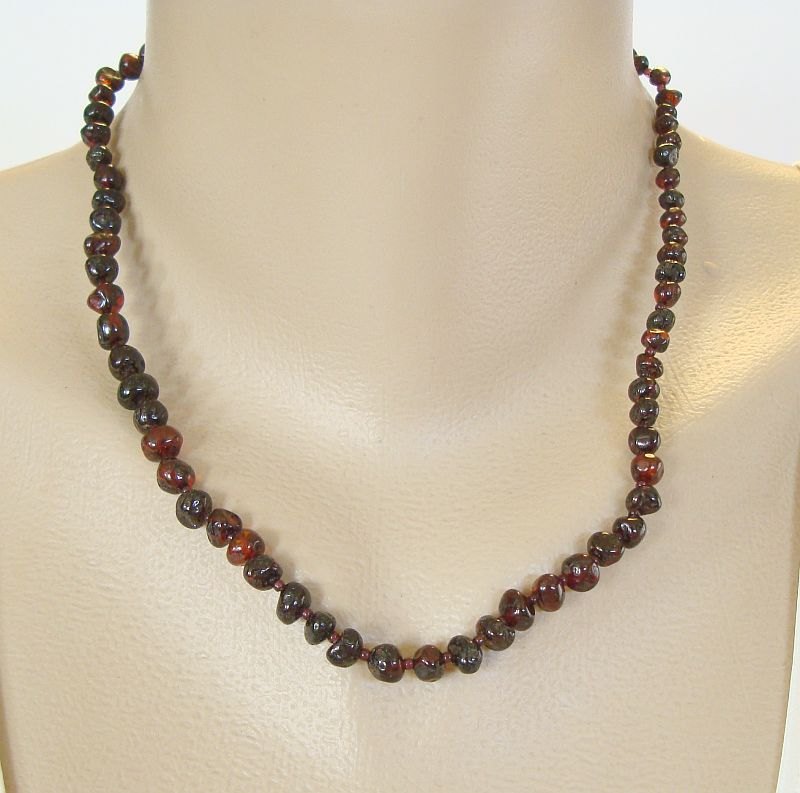 Natural Cherry Amber Necklace Genuine Baltic 18 inches Gemstone Jewelry