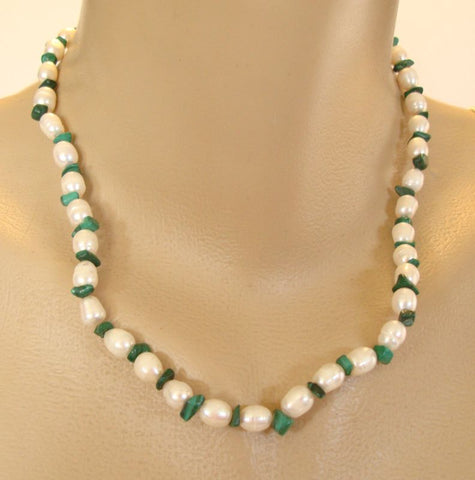 Genuine Fresh Water Pearl Malachite Necklace Earring SET Gemstone Jewelry