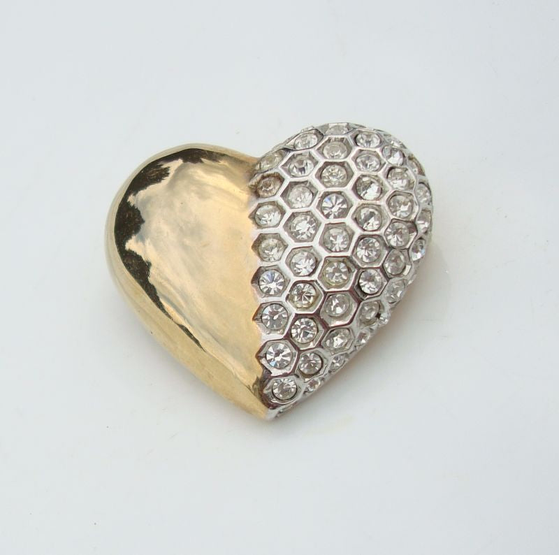 Keyes Signed Rhinestone Heart Brooch Hexagon Sweetheart Jewelry