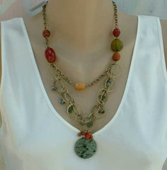 Chico's Bigelow Multi Strand Faux Gemstone Necklace New Green Yellow Jewelry