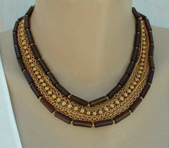 Nine Strand Chain Necklace Amber Beads Fancy Clasp Vintage Jewelry