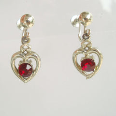 Red Ruby Rhinestone Heart Drop Screw Earrings Vintage Jewelry