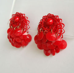 Red Enamel Triple Layer Flapper-Style Clip On Earrings Vintage Jewelry