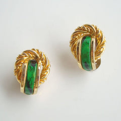 Retro Green Black Marbled Clip On Earrings Vintage Jewelry