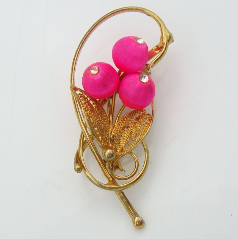 Filigree Pink Floral Spray Brooch Silk Beads Rhinestones Vintage Jewelry