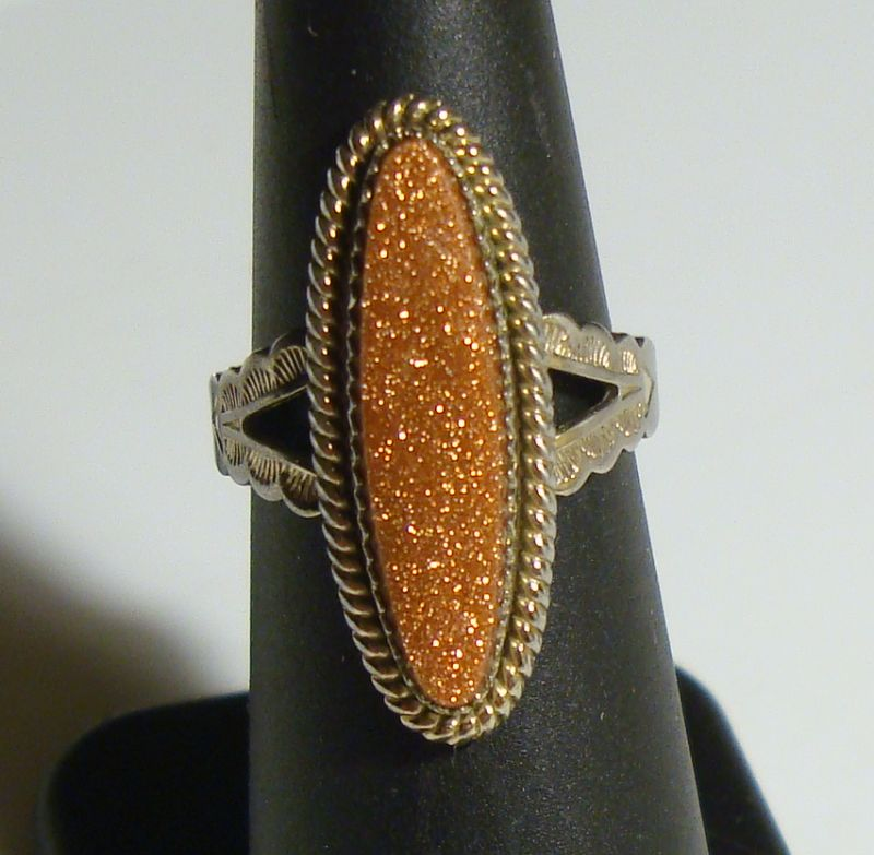 Sterling Silver Goldstone Ring Size 6.5 Vintage Jewelry