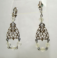 Chandelier Dangle Clip Earrings Copper Plated Faux Moonstone Beads