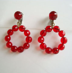 DALSHEIM Red Faceted Bead Hoop Earrings Clip On Style Vintage Jewelry