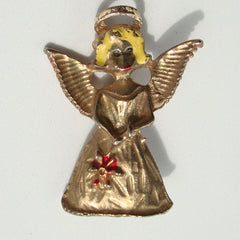 Old Angel Pin Yellow Red Enamel Vintage Holiday Figural Jewelry