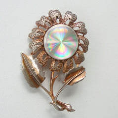 JEWELERAMA 1960s Book Piece Brooch Reflective Center Vintage Jewelry