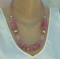 Pink Crackled Bead Swag Necklace Vintage Jewelry