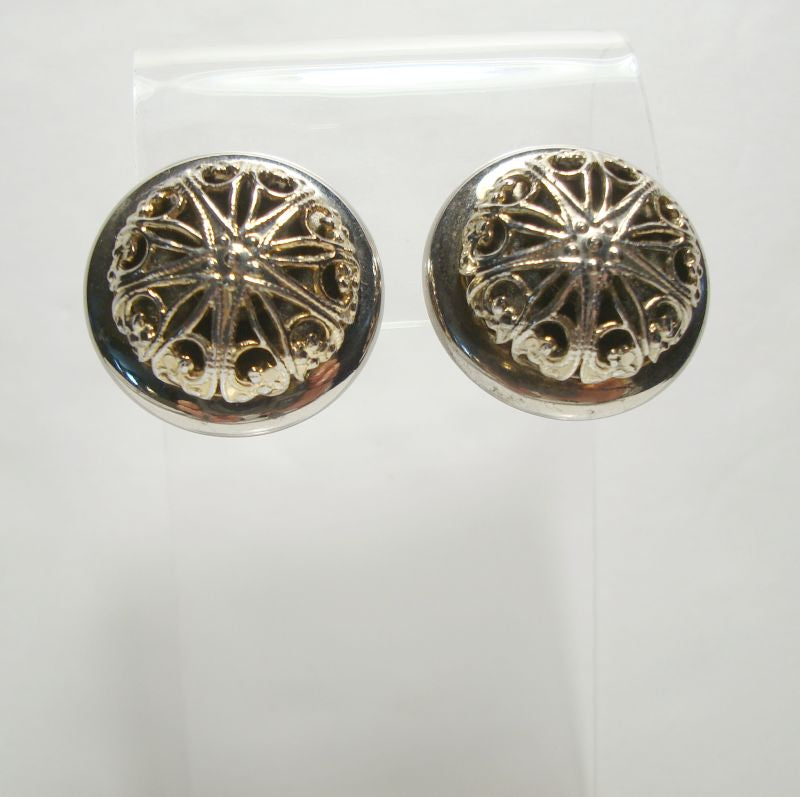 Raised Starburst Openwork Clip On Earrings Vintage Jewelry