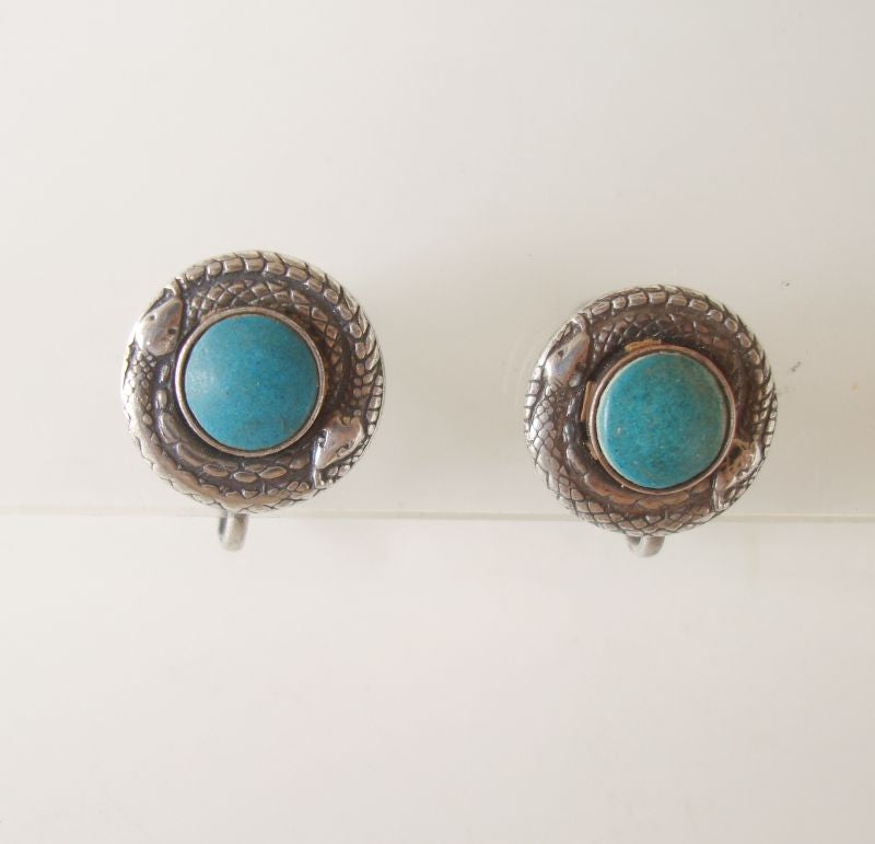 Coiled Snake Turquoise Screw Earrings Vintage Jewelry