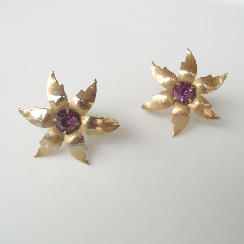 P and F Signed Amethyst Star Screw Earrings Vintage Jewelry