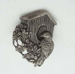 Birds and Blooms 1997 Pewter Bird House Pin Brooch Figural Jewelry