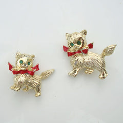 Pair Cute Kitty Scatter Pins Green Eyes Red Ribbon Figural Jewelry
