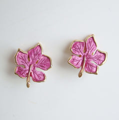 Fuchsia Enamel Maybe Maple Leaf Clip On Earrings Floral Jewelry