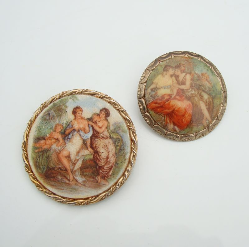 Two Victorian Style Brooches Probably Germany Vintage Figural Jewelry