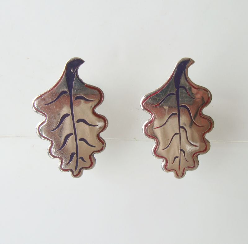 Silver Tree or Leaf Screw Style Earrings marked India Vintage Floral Jewelry