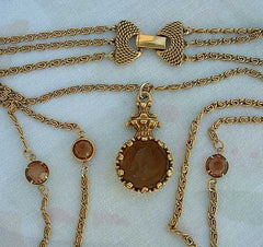 Goldette Triple Chain Intaglio Necklace Amber Rhinestones Fancy Clasp