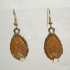 Faux Carved Sunstone Dangle Earrings Goldstone Vintage Jewelry