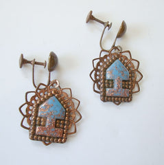 Turquoise Confetti Lucite Copper Dangle Earrings Screw Style Vintage Jewelry