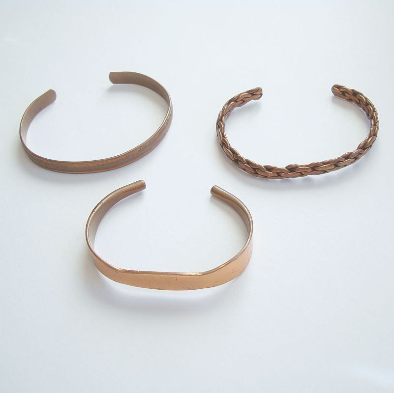 Three 3 Copper Cuff Bracelets Smooth Rope Embossed Vintage Jewelry