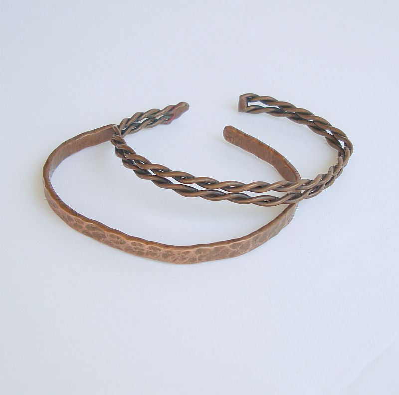 Two Narrow Copper Cuff Bracelets Extra Large Twisted Hammered Vintage Jewelry