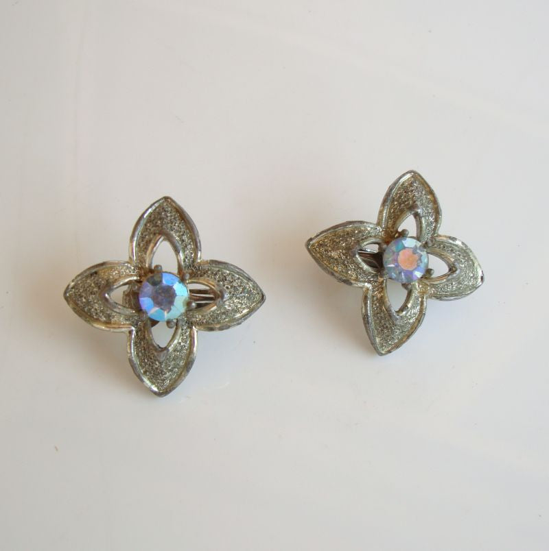 CORO Star Cross Clip Earrings Blue AB Rhinestones Vintage Jewelry