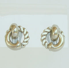 CORO Silvertone Knot Rope Button Clip On Earrings Pre 1955 Vintage Jewelry